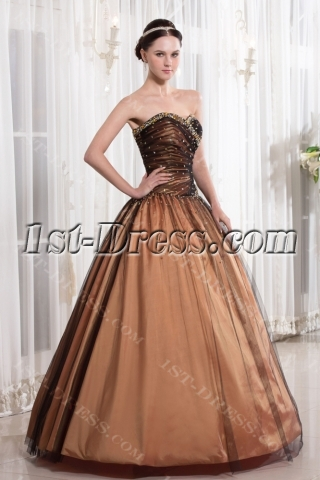 Champagne and Black Quinceanera Dress for Large Size