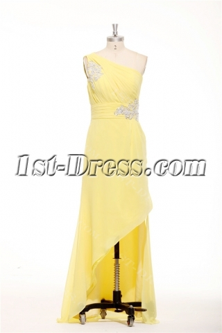 Charming Asymmetrical Neckline Yellow Semi Formal Dresses Plus Size