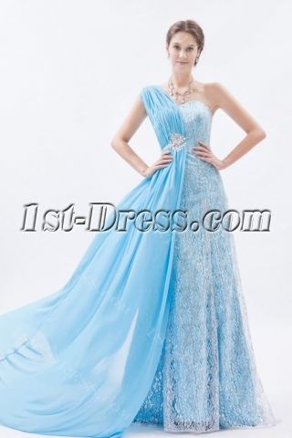 Charming One Shoulder Lace Formal Evening Dress in 2014 Spring