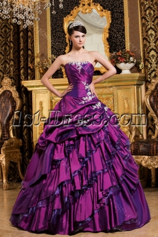 Chic Purple Long Corset Princess Quinceanera Dress