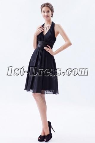 Classy Chiffon Halter Little Black Dress for Prom