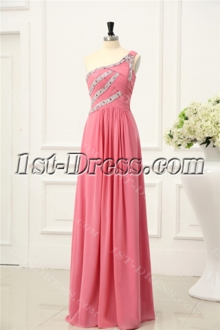 Coral One Shoulder Chiffon Plus Size Prom Gown
