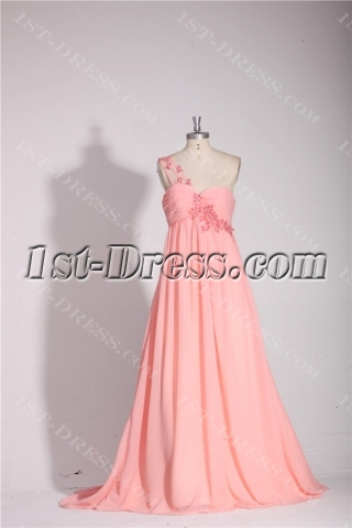 Coral One Shoulder Empire Long Plus Size Prom Gown