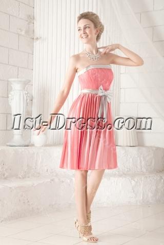 Coral and Silver Short Inexpensive Bridesmaid Dress