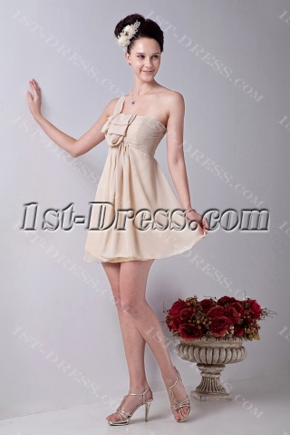 Cute Champagne Short Cocktail Dress with One Shoulder for Junior