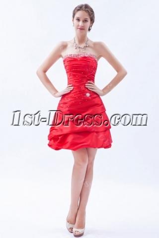 Dramatic Red Taffeta Strapless Short Quince Dress