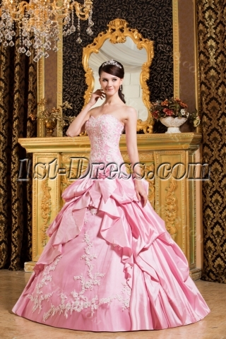 Drop Waist Pink 15 Quinceanera Dress for Spring