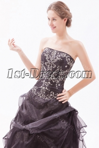 Embroidery Black Strapless Quinceanera Dresses for Large Size