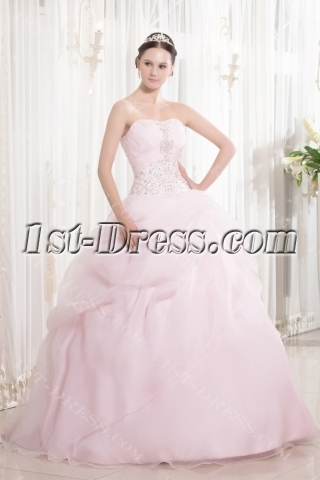 Embroidery Pearl Pink Pretty Quince Ball Gown with Sweetheart