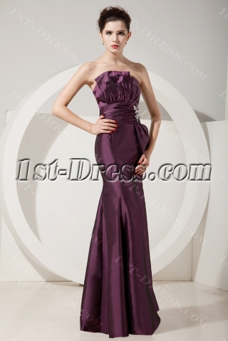 Fabulous Grape Sheath Strapless Floor-Length Prom Dress