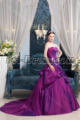 Fuchsia Beautiful A-line Taffeta Wedding Dress 2014