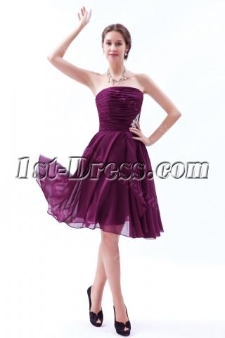 Fuchsia Chiffon Strapless Short Bridesmaid Dress 2012