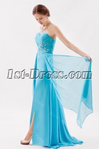 Glamorous Aqua Long Chiffon 2013 Prom Dress with Train