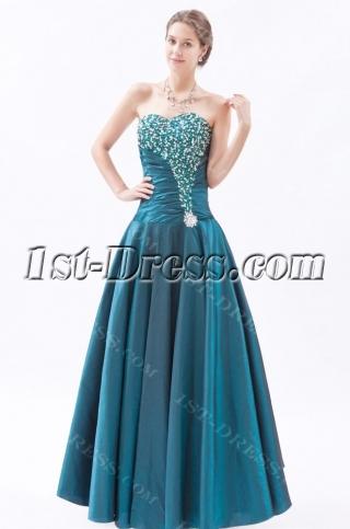 Glamorous Long Taffeta Sweetheart Hunter Green Affordable Quinceanera Gown