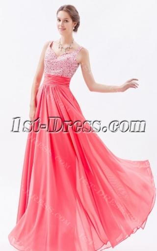 Graceful Water Melon Chiffon Beaded Long Prom Dresses