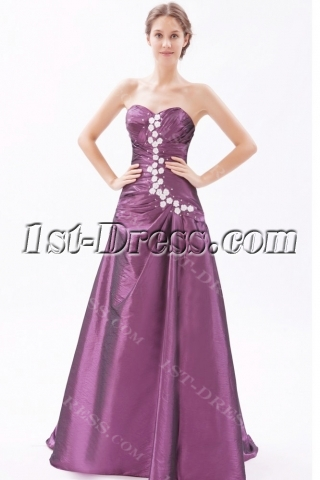 Grape A-line Military Party Gown with Corset