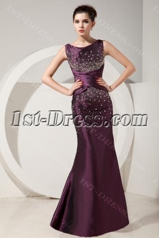 Grape Gorgeous Trumpet Beading Floor-Length Prom Dresses