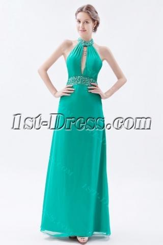 Halter Backless Hunter Green Celebrity Dress 2014