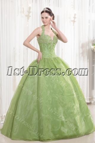 Halter Green Beaded Organza Bat Mitzvah Dresses