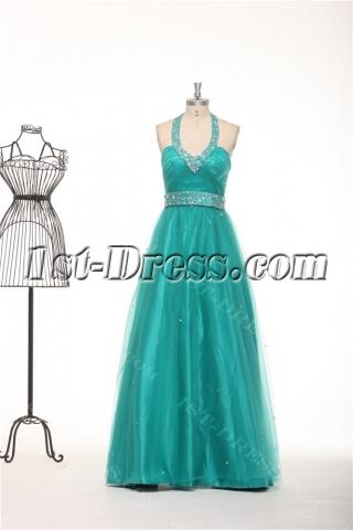 Halter Teal Blue Plus Size Quinceanera Gown Dresses
