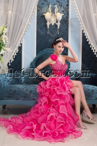 High-low Hot Pink Colorful Quinceanera Dress