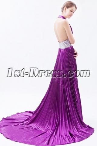 Hot Low Cut Halter Purple Prom Dress with Train