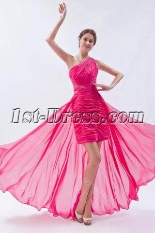 Hot Pink Cute One Shoulder High-low Hem Sweet 16 Dress
