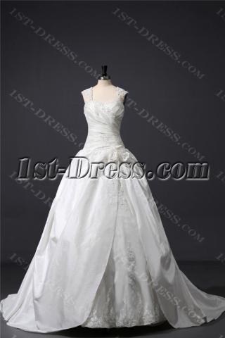 Ivory Straps Modest Ball Gown Wedding Dress