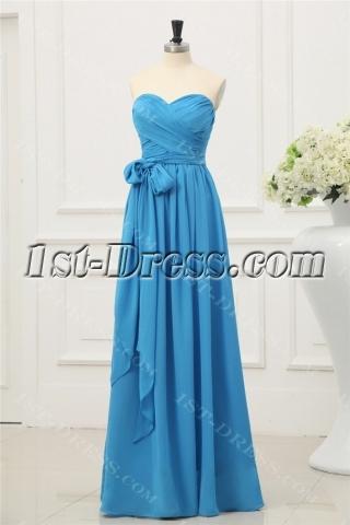 Long Chiffon Simple 2014 Prom Dresses