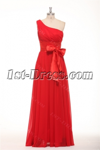Long One Shoulder Red Evening Dresses on Sale