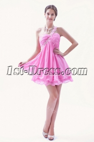 Lovely Hot Pink Mini Length Sweet 16 Dress with One Shoulder