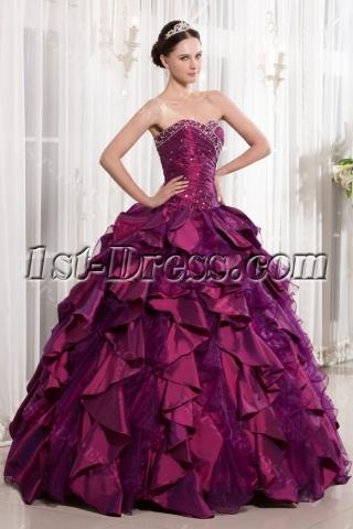 Luxury Sweet Fuchsia 2014 Quinceanera Dress