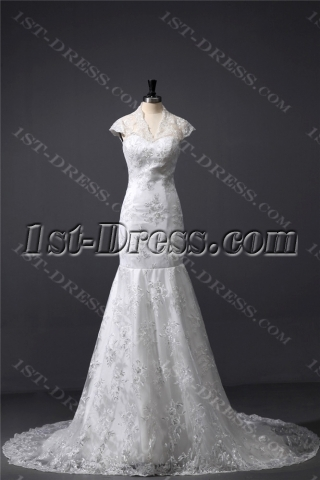 Modest Cap Sleeves Lace Mermaid Bridal Gown with V-neckline