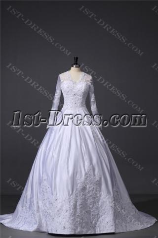 Modest Lace Long Sleeve Wedding Dress with V-Neckline