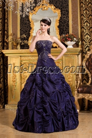 Navy Blue Drop Waist Quinceanera Dress 2012 with Pick up
