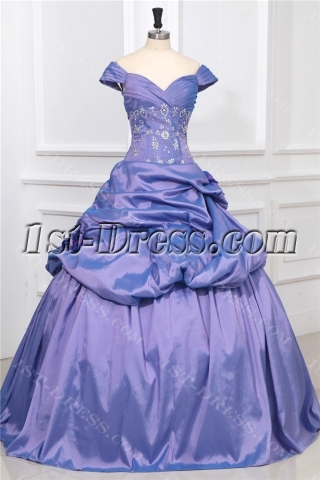 Off Shoulder Periwinkle Princess Quinceanera Ball Gown