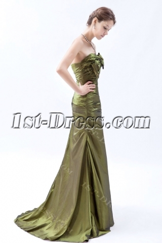 Olive Green Elegant Strapless Evening Dresses with Train