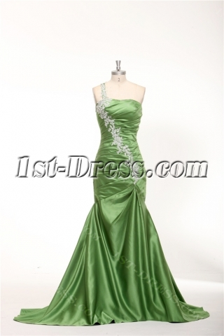 Olive Green Mermaid Military Ball Formal Dresses with Train