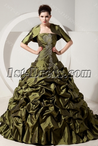 Olive Green Puffy Quinceanera Dresses with Jacket For Winter