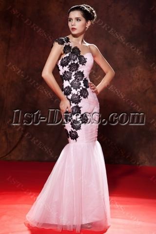 One Shoulder Pink Mermaid Graduation Dress Black Lace