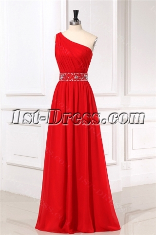 One Shoulder Red Formal Evening Dresses for Petite women