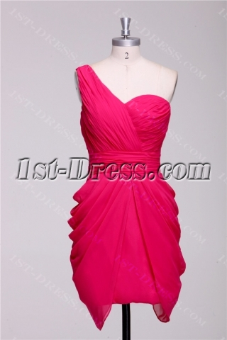One Shoulder Watermelon Short Homecoming Dress