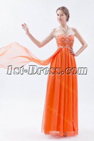 Orange Empire Long Ball Gown for Plus Size with Embroidery