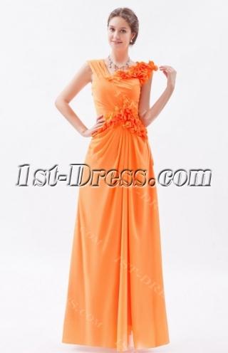 Orange Impressive Long Chiffon Prom Dress with V-neckline
