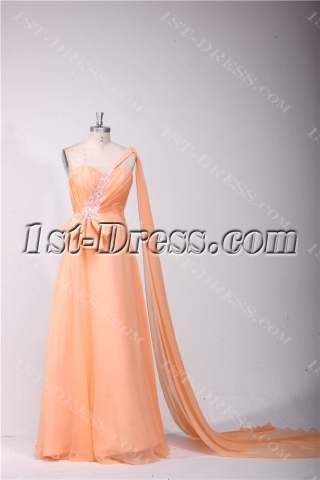 Orange One Shoulder Plus Size Prom Dresses with Sash