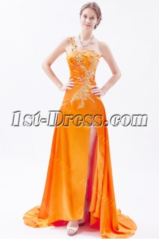 Orange One Shoulder Slit Celebrity Dress with Train
