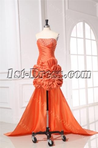 Orange Taffeta Cocktail Dress with Detachable Train