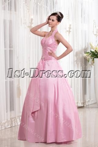 Pink Halter Cheap Quinceanera Dress