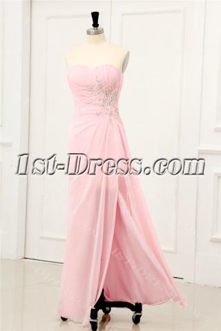 Pink Sexy Chiffon Evening Dresses with Slit