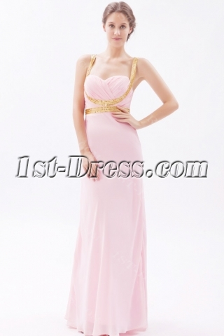 Pink and Gold Long Chiffon Crossed Straps Cheap Evening Dress